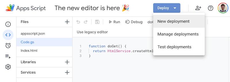 Giữ nguyên URL Google apps sript deployment